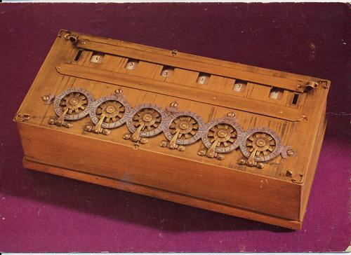 Showing the inside of a pascaline mechanical calculator invented.